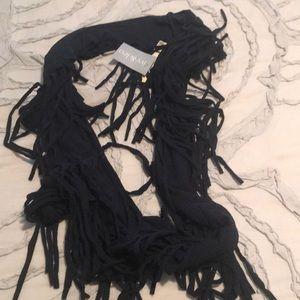 Navy fringe infinity scarf